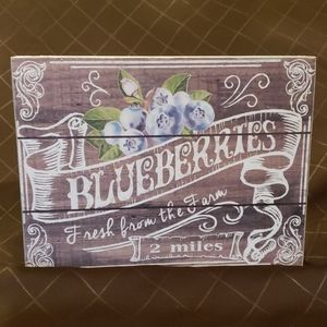 Blueberries ->2 MILES  Country Sign